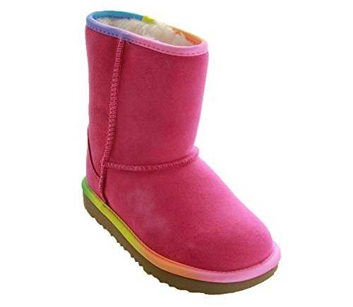 UGG Girls K Classic Short II Rainbow Pull-on Boot, Pink Azalea, 5 M US Big - Size Youth 5 Boots Ugg
