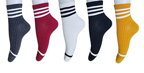 - AM Landen Women's 5 Pairs Ankle Striped Athletic Short Cotton Socks Set