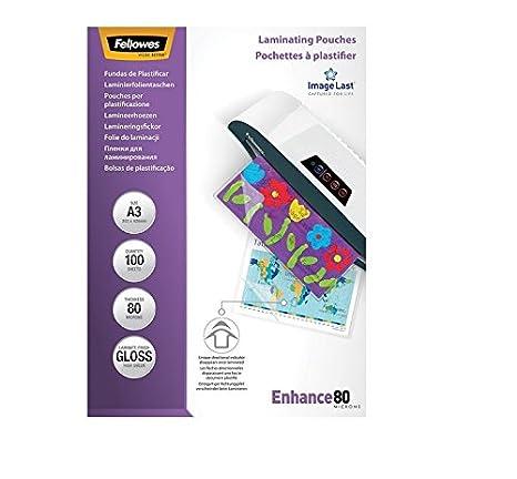 Fellowes 5306207 Pouches Lucide Enhance80 80 Micron Formato A3 Confezione da 100 Pezzi