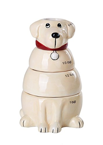 Pacific Giftware Lovable Labrador Retriever Ceramic Nesting Measuring Cup Set of 4 Creative Functional Kitchen Decor