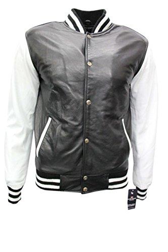 Men's BASEBALL Varsity Black White College DJ Stylish Hip Hop Rap Leather Jacket (2XL) by Smart Range