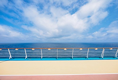 Baocicco Deck Seascape of Luxury Cruise Ship Backdrop 10x8ft Photography Background Balcony Sea View Fence Seaside Vacation Waterfront Relaxing Time Children Adult Summer ()
