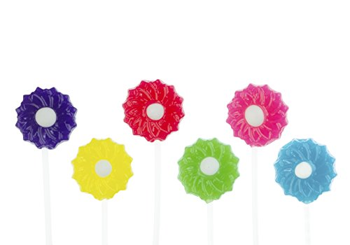 Twinkle Pops Lollipop, Flower Blossom Shapes (Pack of 120 Lollipops), 12 inch Long Lollipop Stem, Handcrafted in USA, 6 Vibrant Colors, Fruit Flavors, 37.80 Ounce by Sparko Sweets