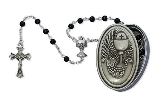 Communion Pewter Rosary Box (Boy's First Communion Black Bead Rosary with Pewter Gift Box)