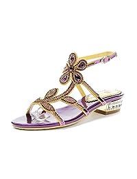 Honeystore Women's Flower Leaf Rhinestones Rubber Sole Low Heel Wedding Sandals Shoes