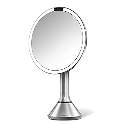 "simplehuman Sensor Lighted Makeup Vanity Mirror 8"" Round, 5X Magnification, Stainless Steel, Rechargeable and Cordless"