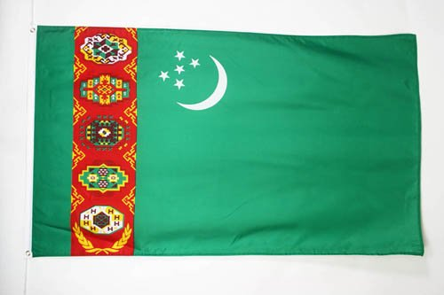 TURKMENISTAN FLAG 3' x 5' - TURKMEN FLAGS 90 x 150 cm - BANNER 3x5 ft - AZ FLAG