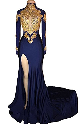 Column Sheath Strapless (TbDesses 2018 Women's Navy Halter Prom Dresses Long Sleeves Split Mermaid Evening Gowns)