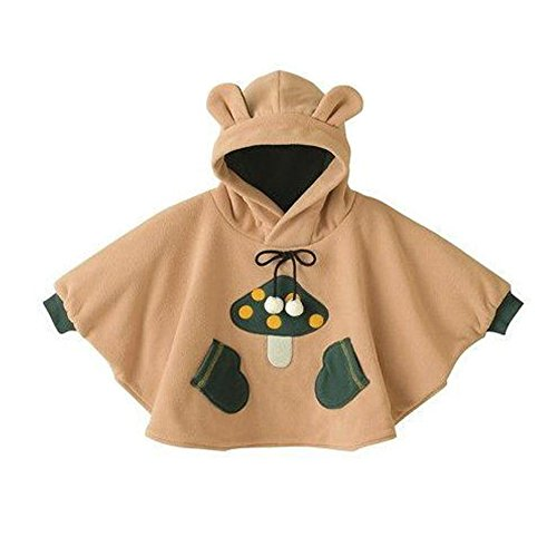 (Mud Kingdom Baby Boys Hoodie Costume Fleece Cloak Coats Mushroom 12M Khaki)