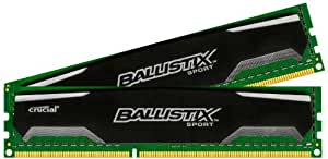 Ballistix Sport 8GB Kit (4GBx2) DDR3 1600 MT/s (PC3-12800) UDIMM 240-Pin Memory - BLS2KIT4G3D1609DS1S00