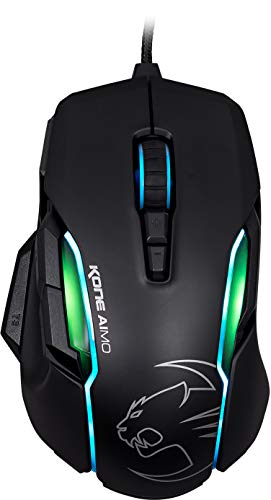 ROCCAT KONE Aimo Gaming Mouse - High Precision, Optical Owl-Eye Sensor (100 to 12.000 DPI), RGB Aimo LED Illumination, 23 Programmable Keys, Designed in Germany, USB, Black (Best Mouse Sensitivity For League Of Legends)