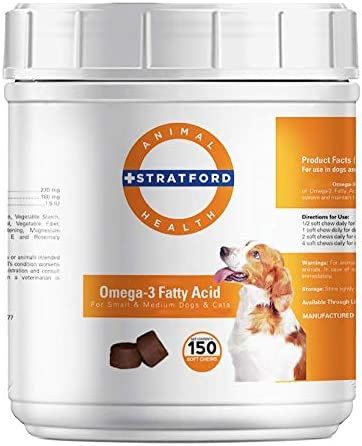 Stratford Pharmaceuticals EZ Chew Omega 3 Fatty Acid Soft Chew Max Strength – Dog Omega 3 Supplement – Soft Chew Treats with Fish Oil for Dogs – Small and Medium Dogs 150 Soft Chews