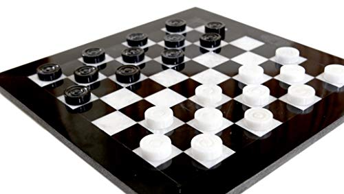 (RADICALn Checkers Board Game 12 Inches Black and White Handmade Marble 2 Player Draughts Coffee Time Checker Game Set for Kids - Non Chinese Non Chess Set - Square Portable Table Checker Board Game)