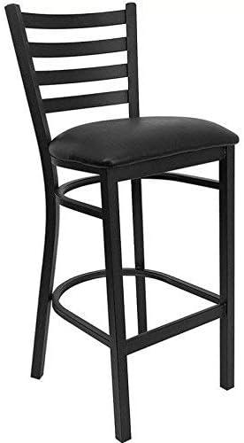 Black Ladder Back Metal Restaurant Bar Stool