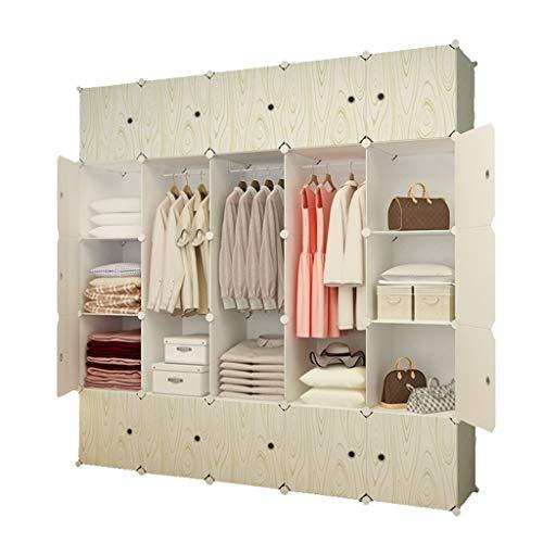 Gabinetes modulares de ahorro de espacio de grano de madera, roperos portátiles que cuelgan, armario de combinación de resina - gabinetes de almacenamiento ideales Libros de guardarropas de cubos