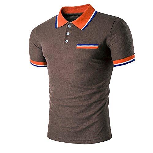 Realdo Men's Slim Polo Shirt, Casual Fahison Button Down Color Splice Pullover Top(Brown,XX-Large)