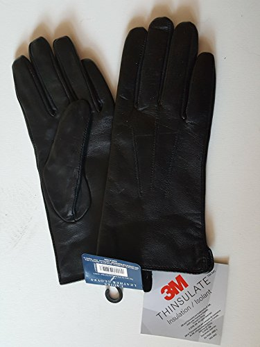 West Loop Black Mens Soft Leather Thinsulate Gloves With Knit Cuff and Elastic ()