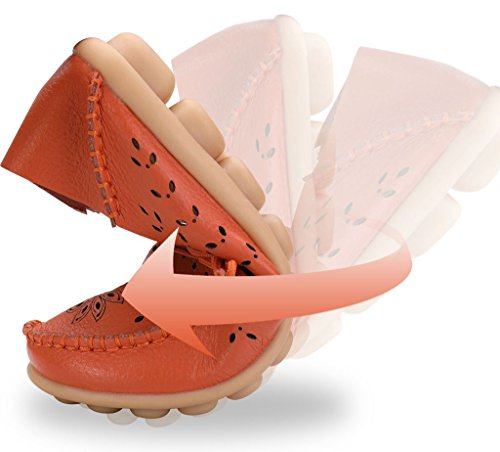 Flats Women's Loafers Moccasin Driving Slip Shoes Labato 02 On Casual Orange Leather Yxwqd6BgH