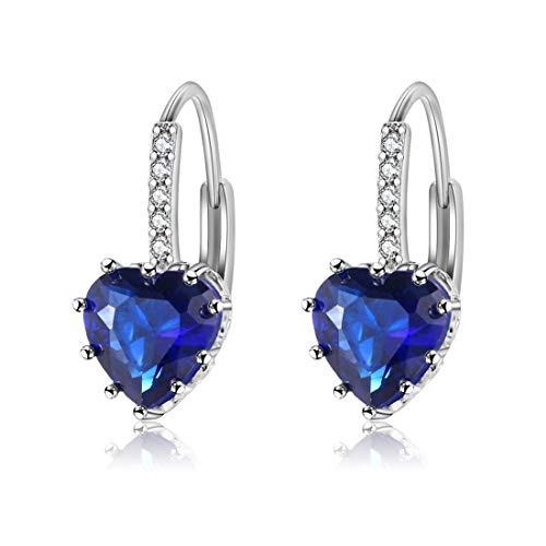 Vigoner Platinum Plated Heart Cut 9x9mm Sapphire Quartz Dangle Leverback Earrings for Women Girls