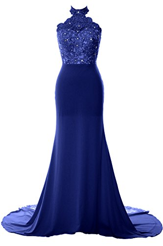 MACloth Women Mermaid Halter Lace Jersey Long Prom Dress Formal Evening Gown (US12, Royal Blue)