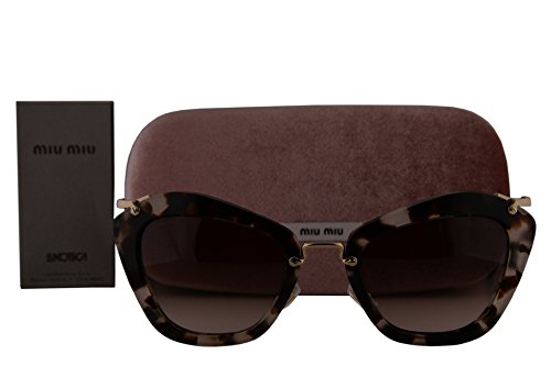 Miu Miu MU10NS Sunglasses Opal Ivory Havana w/Brown Gradient Lens UAO0A6 SMU10N MU 10NS SMU - Miu Miu Sunglasses 10ns