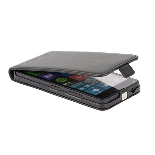 Snakehive® Microsoft Lumia 640 (Modelo negro solamente) Cuero Laminado Funda volteable para Microsoft Lumia 640 (Modelo negro solamente) (Color Negro) Color Negro