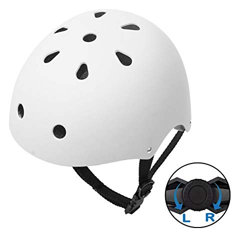 GIORO Skateboard Helmet Impact Resistance Safe Helmet Multi Sport for Bike, Skates, Skateboards & Scooter Certified CPSC Adult&Kids Adjustable Dial Helmet with Multiple Colors&Sizes (White, ()