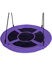 "Gaorui 100cm 40"" Tree Swing Spinner Kids Swing Seat Saucer Nest Swing Round Ring Large Tire Swing – 200 KG Weight Capacity, Fully Assembled, Easy to Install Purple"