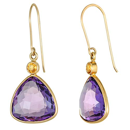 Lavari - 13MM Trillion Shaped Amethyst 3MM Citrine 14K Yellow Gold French Wire Earrings ()