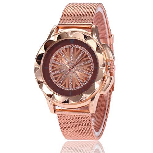 SuperLina Rose Gold Watch Women Wris Watches Luxury Rhinestone Quartz Ladies Clock Gifts Relogio Feminino(OneSize,Brown)