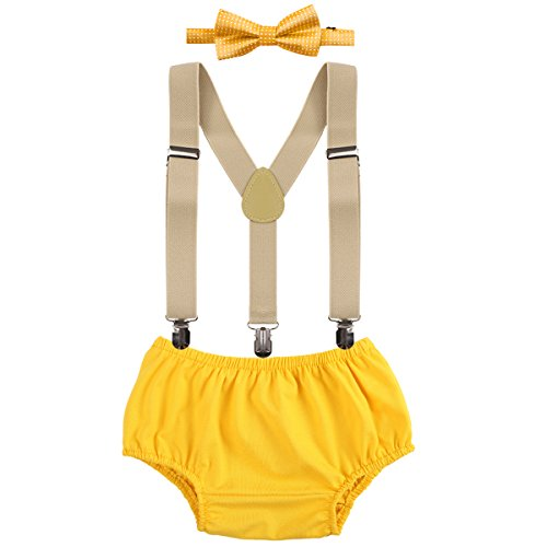 Baby Boys Cake Smash Outfit First Birthday Bloomers Bowtie Adjustable Y Back Suspenders Clothes set Yellow One Size