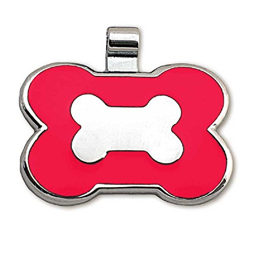 (LuckyPet Pet ID Tag - Bone Shaped Jewelry Tag - Beautiful Enamel on Front - Custom Engraved on Back Side - Easy To Read Laser Engraving - Size: Large, Color Red)