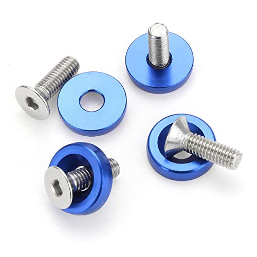 Prong Paper Fasteners Washers - 20Pc M6 Billet 6061 Aluminum Bumper Washer with Bolt Blue