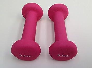 Juego de mancuernas 2 x 0,5 (color rosa) neopreno cuerpo Fitness ...