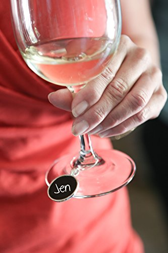 Reusable Personalized Wine Charms – 8 Mini Chalkboard Circles on Silver Plated Pendants - Personalized Silver Plated Wine