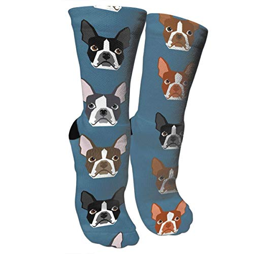 Boston Terriers Blue Faces Cute Dogs Athletic Crew Socks Compression Socks for Women Men Medical,Athletic,Knee High Graduated Calf Sock - Best for - Womens Sock Terrier