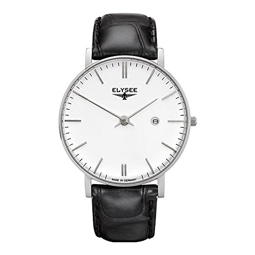 ELYSEE MEN'S ZELOS 40MM BLACK LEATHER BAND STEEL CASE QUARTZ WATCH 98000