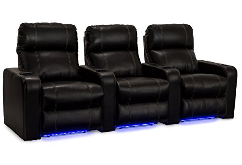 Lane Dynasty Black Bonded Leather Home Theater Seating w/ Base Lights - Row of 3 Seats - Power Recline by Lane