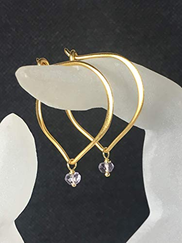 Light Amethyst Hoop Earrings, February Birthstone, Gold Hoop Vermeil Ear Wires, Lotus Petal, Dainty Gemstone Bead