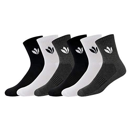 FRESH FEET Men's Cotton Crew Length Socks, Free Size, Pack of 6