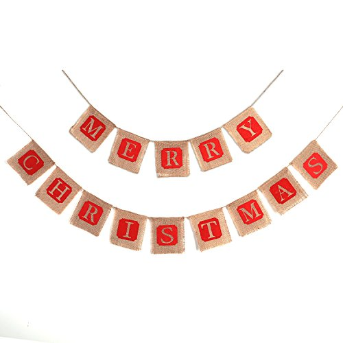 Konsait 2 in 1 Christmas Burlap Banner Christmas Party Bunting Banner Garland for Fireplace Picture Outdoor Indoor DecorationsXmas Home Photo Prop Party Decor Favors Supplies