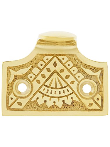 (Cast Brass Oriental Pattern Sash Lift in Polished Brass Finish.)