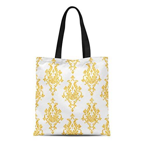 Sparkle Floral Tote - Semtomn Cotton Canvas Tote Bag Swirl Damask Floral Golden Sparkles on Vip Pattern Shiny Reusable Shoulder Grocery Shopping Bags Handbag Printed