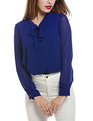 (ACEVOG Pussycat Bow Tie Neck Long Sleeve Chiffon Women's Work Shirts,Royal Blue,XX-Large)