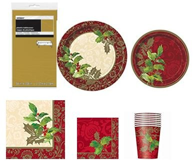 Christmas-Package-Elegant-Holiday-Dinner-Party-Package-for-8-Guests-Includes-Plastic-tablecover-clothes-Dinner-Plates-Dessert-Plates-NapkinsBeverage-NapkinsCups-57-ct