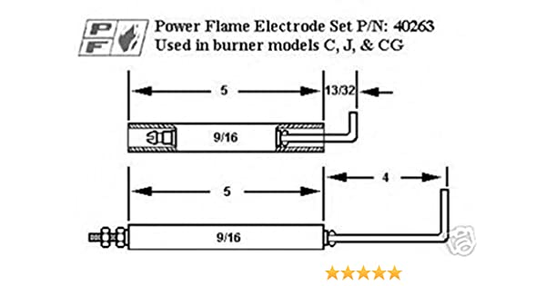 2 Pack Power Flame Gas Flame Rod For C,J,CG Gas Burners Crown 26894-02