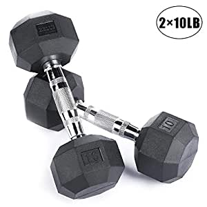 ZELUS Heavy Rubber Dumbbells Hand Weights Metal Handles, 8-Sided Octagonal Designed (10 Pounds (Pair))