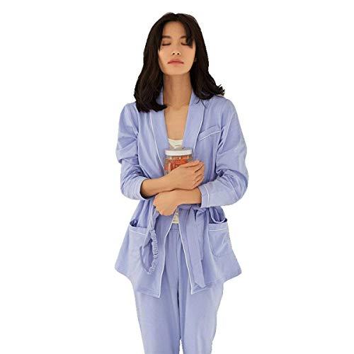 Pijamas Hogar Mujeres Primavera Otoño Respirable Pijama Cómodo Pantalones Clásico Mujer Larga Casuales Manga Noche Sólido Ropa De Purple Para El Color Conjunto xgwqUBTRq