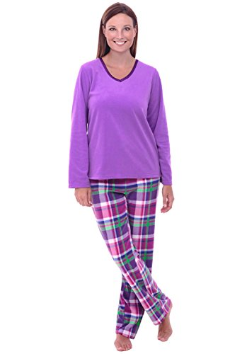 - Alexander Del Rossa Womens Fleece Pajamas, Long V-Neck Pj Set, Small Purple and Green Plaid (A0325Q17SM)