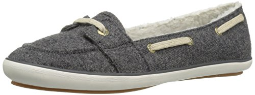 Keds Women's Teacup Boat Wool Shearling Fashion Sneaker, Charcoal, 8 M US